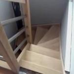 Escalier bois à barreaux en tubes inox